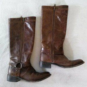 Dan Post Tall Moto Harness Boots Leather Brown Zip